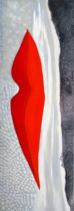 Homage Man Ray, 2015, oil on canvas 60x180