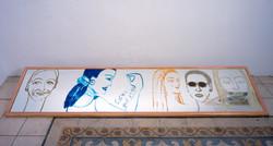 Portraits, oil on miror, 47x200