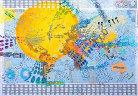 Millenium, 2000, oil on map, 70x100