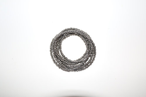 Silver Big Beaded Double Wrap Necklace
