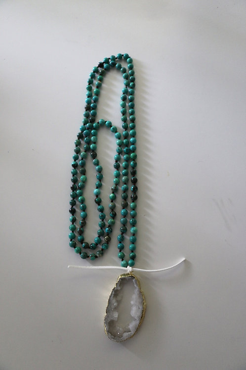 White Druzy Stone ~Blue/Green Triple Wrap Necklace
