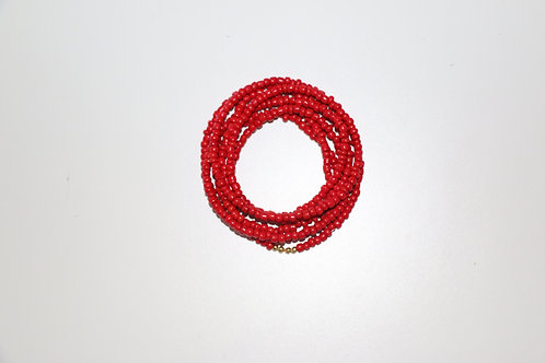 Red Big Beaded Double Wrap Necklace