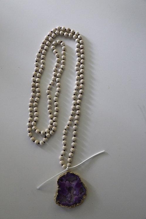 Purple Druzy Stone ~ White Triple Wrap Necklace
