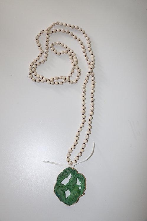 Green Druzy Stone ~ White Triple Wrap Necklace