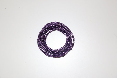 Purple Big Beaded Double Wrap Necklace