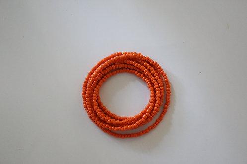 Orange Double Wrap Beaded Necklace
