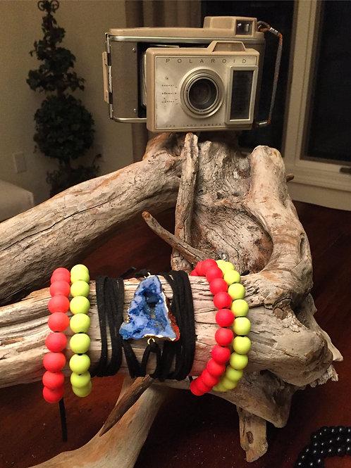 Royal Blue Druzy Stone~Black Suede Bracelet/Choker