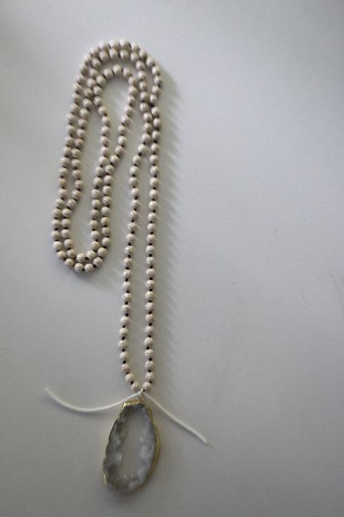 White Druzy Stone ~ White Triple Wrap Necklace