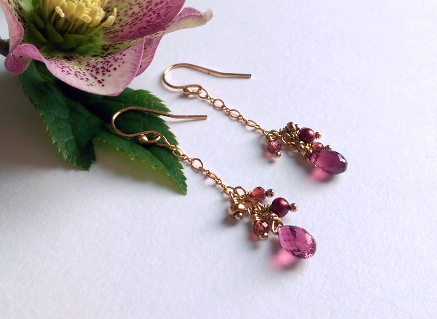 Gold vermeil earrings featuring Rhodolite Garnet stones, with pearls and other garnets