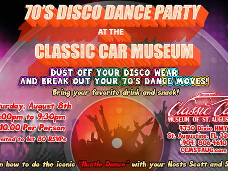 70's Disco Dance Party August 8th!
