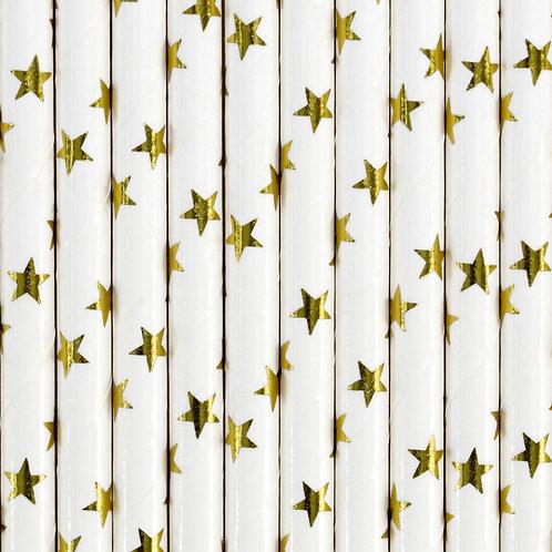 Valge ja gold stars paberist joogikõrs