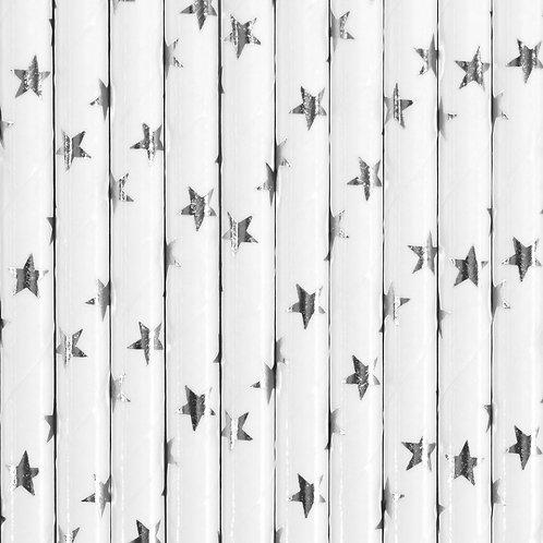 Valge ja silver star paberist joogikõrs