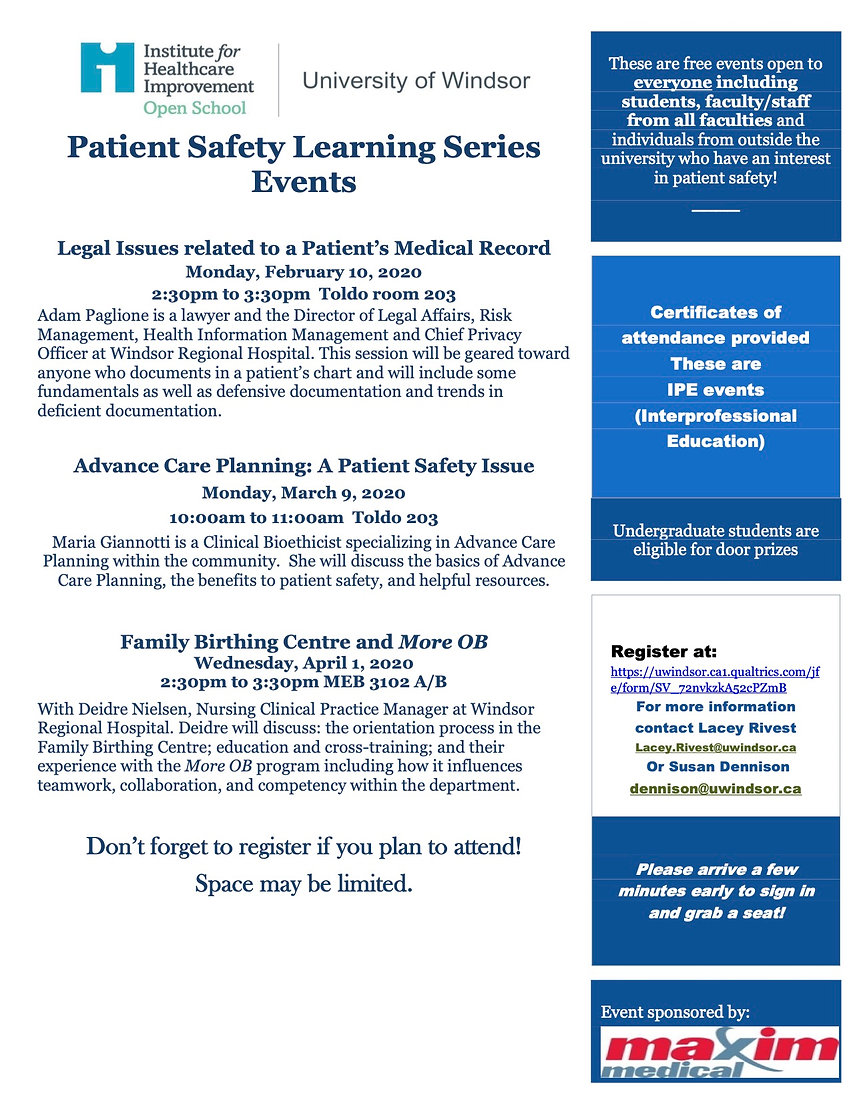 UofW IHI Open School Patient Safety Lear