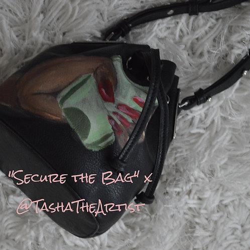 Secure the Bag Black - Hand-painted leather