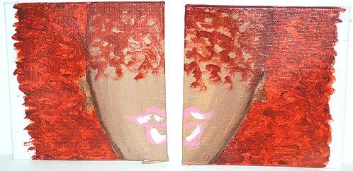Ginger Hair Mini Original Painting / Coaster (Set of 2)