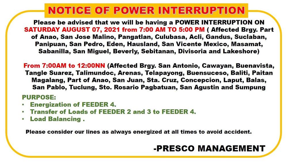 SCHEDULED POWER INTERRUPTION