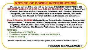 NOTICE OF POWER INTERRUPTION      August 7, 2021