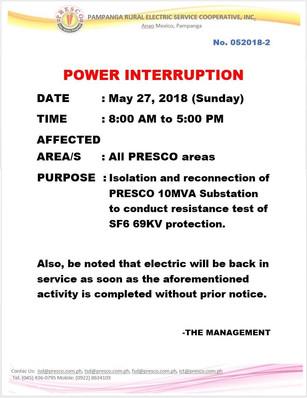 NOTICE OF  POWER INTERRUPTION