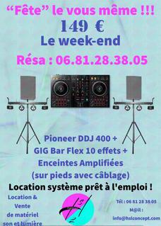 Location de packages son, lumières, contrôleur DJ à 149 €
