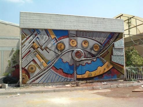 A mural and an environmental sculpturing