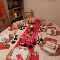 Table pour le noël rouge et vert
