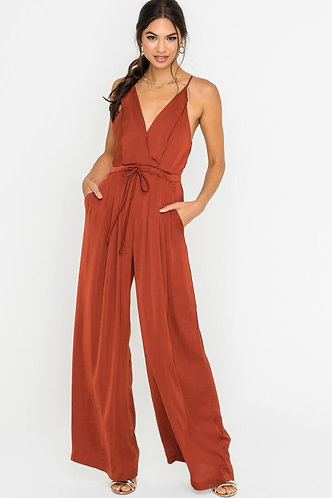 Nora Wide Leg Jumpsuit in Rust