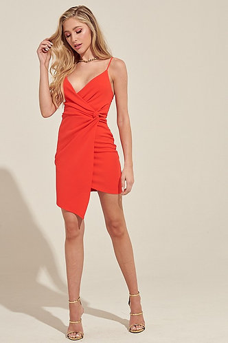 Don't Get It Twisted Dress in Tangerine