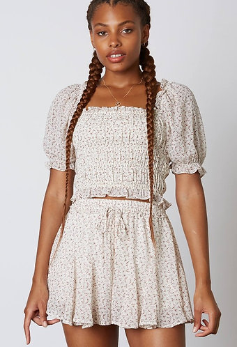 Irene Floral Smocking Top in Ivory