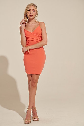 Poppy Bodycon Dress in Tangerine