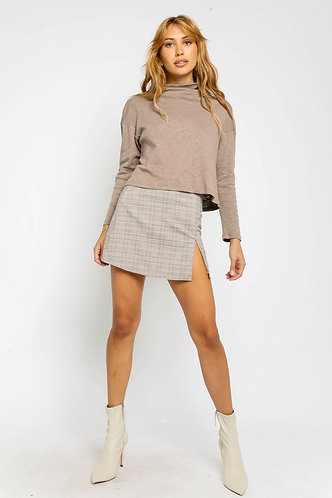 Joelle Mini Skirt in Grey Blush Plaid