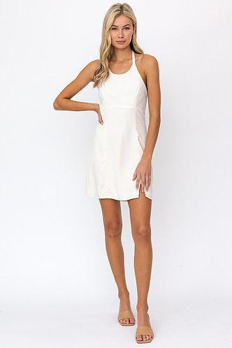 Pearl Halter Dress in Cream
