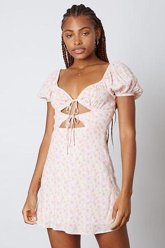 Charolette Double Tie Babydoll Dress in Pink