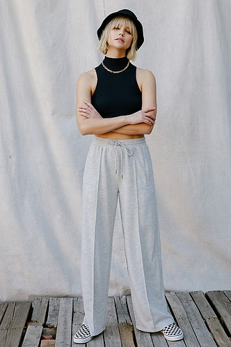 Sydney Wide Leg Lounge Pant in Grey