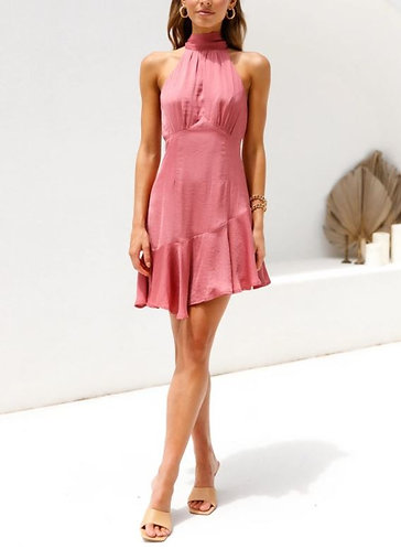 Faith Flirty Ruffle Hem Dress in Rose