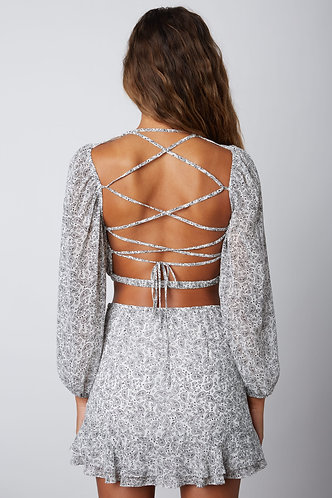 Harmony Open Back Blouse in White