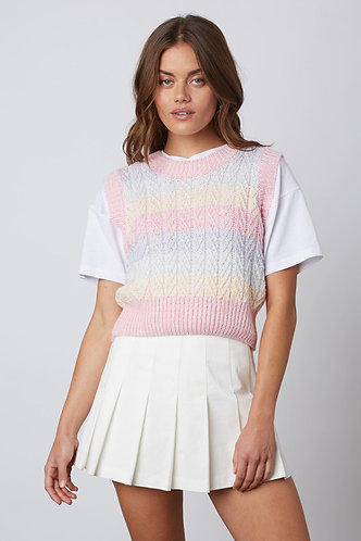 Indah Pastel Sweater Vest in Pink Stripe