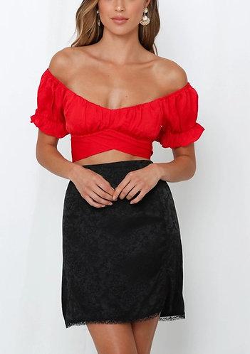 Ellen Crop Ruffle Blouse in Red