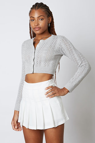 Heathers Solid Pleated Tennis Skirt in White