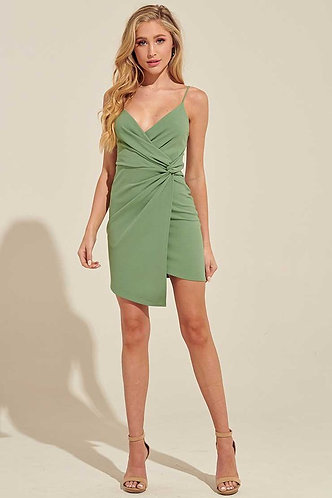 Don't Get it Twisted Dress in Sage