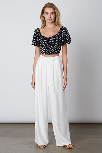 Danica High Rise Pleated Wide Leg Pant in White