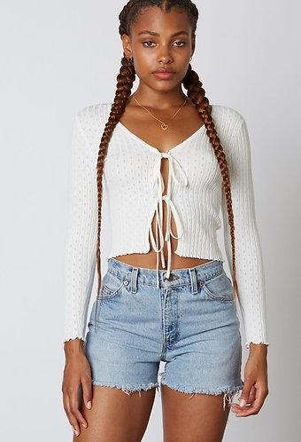 Toyah Tie Sweater Cardigan in White
