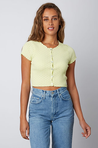 Madelyn Short Sleeve Sweater in Lime
