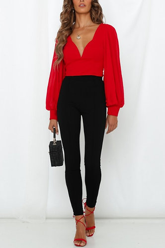 Maggie Plunging Backless Blouse