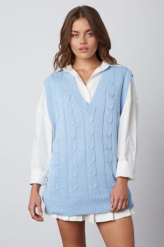 May Cable Knit Sweater Vest in Chambray