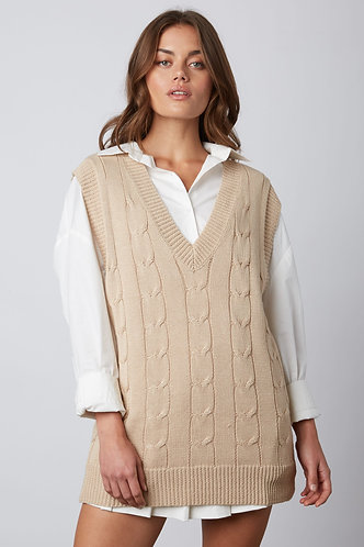 May Cable Knit Sweater Vest in Tan