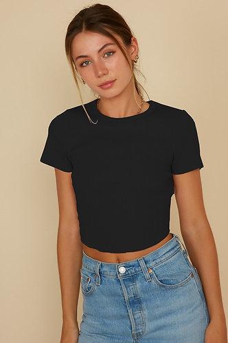 Jennie Knit Crop Sweater in Black