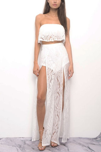 Romantic Getaway Lace Set in White