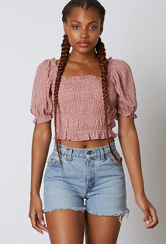 Irene Floral Smocking Top in Mauve