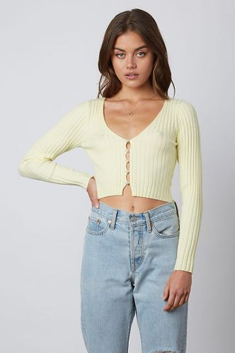 York Knit Cardi in Lemon