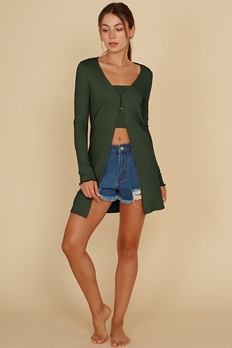 Becky Tube Top And Cardigan Set in Olive